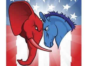 O elefante é tradicionalmente o simbolo dos republicanos e o burro dos democratas