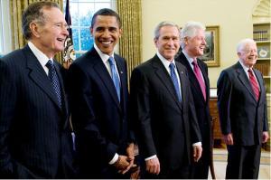 Presidentes: H. W. Bush, Obama, W. Bush, Clinton e Carter.