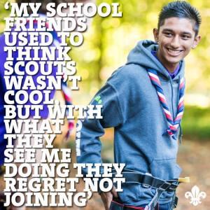 Meus amigos da escola costumavam achar que escotismo não era legal, mas com o que eles me veem fazem, eles se arrependem de não participar - Jagz Bharth, Comissário Juvenil do Escotismo no Reino Unido