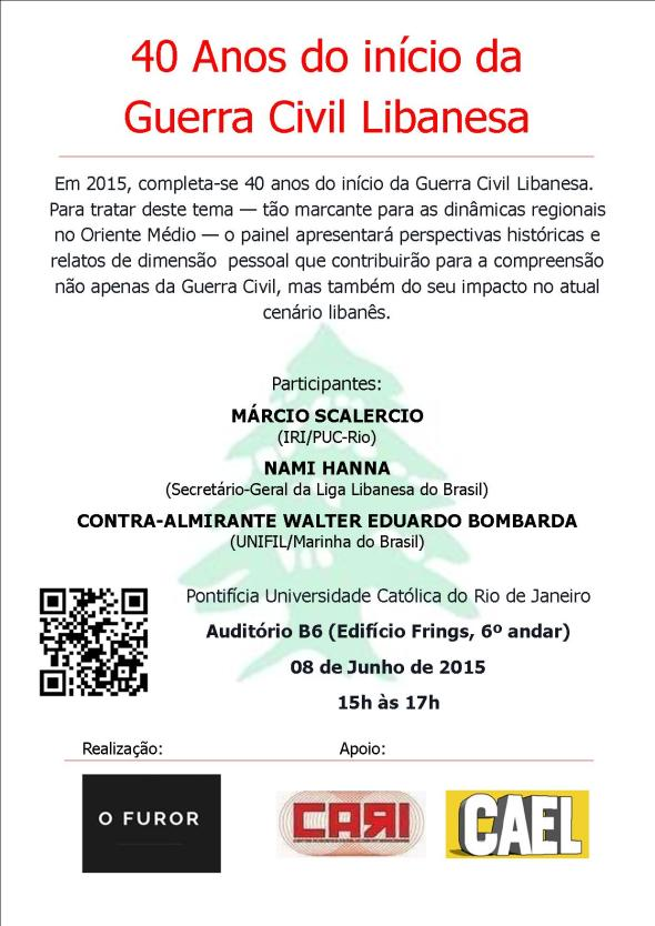 "Cartaz do evento ""40 Anos do Início da Guerra Civil Libanesa""."