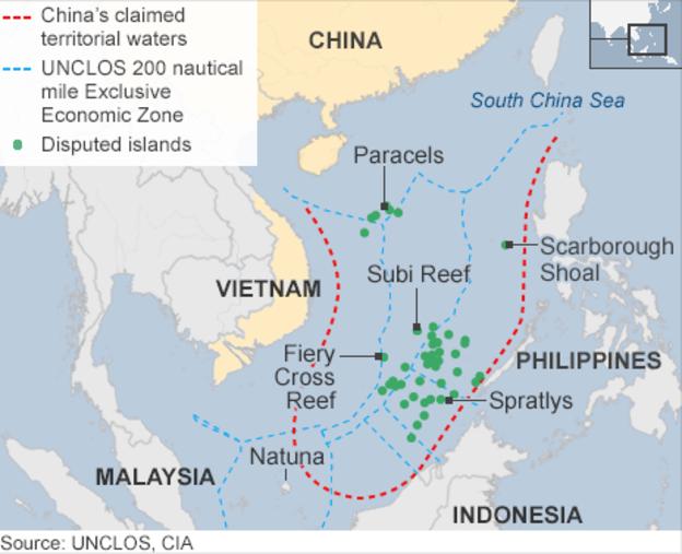 ZEE definida de acordo com a CNUDM para cada um dos países e a ZEE estabelecida pela China (BBC).