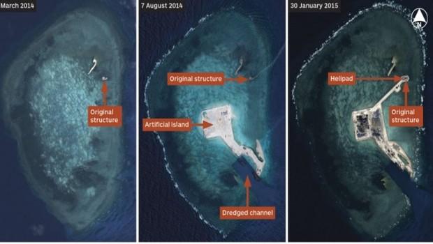 Imagens de Satélite de Março de 2014 a Janeiro de 2015 mostram a extensão do Projeto na Gaven Reefs (Foto: CNES 2014/Distribution Airbus DS/IHS)