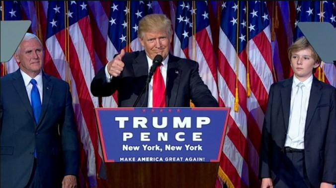 (CNN) Donald Trump em seu discurso da vitória na madrugada de quarta-feira, dia 09 de novembro de 2016.